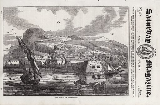 The Rock of Gibraltar.  Illustration for The Saturday Magazine, 6 April 1833.