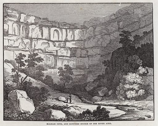 Malham Cove, Yorkshire, and supposed source of the River Aire.  Illustration for The Saturday Magazine, 1 June 1833.