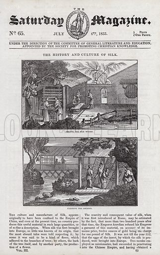 Cultivation of silk.  Illustration for The Saturday Magazine, 6 July 1833.