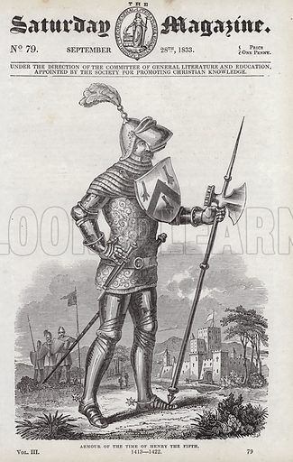 Armour of the time of King Henry V, 1413–22. Illustration for The Saturday Magazine, 28 September 1833.