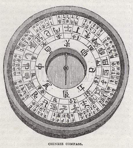 Chinese compass.  Illustration for The Saturday Magazine, 28 September 1833.