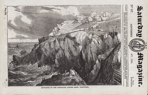 Entrance, Botallack Copper Mine, Cornwall, England.  Illustration for The Saturday Magazine, 9 November 1833.