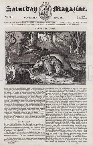 Scenes in India, alligator and dead elephant.  Illustration for The Saturday Magazine, 16 November 1833.