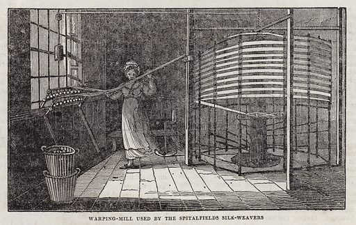 Warping mill used by the Spitalfields silk weavers. Illustration for The Saturday Magazine, 16 November 1833.
