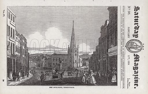 The Bull-Ring, Birmingham.  Illustration for The Saturday Magazine, 11 January 1834.