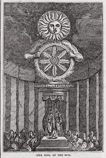 The idols of the Saxons, Idol of the Sun.  Illustration for The Saturday Magazine, 4 January 1834.