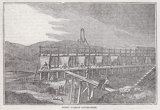Fowey Consols Copper Mine.  Illustration for The Saturday Magazine, 1 February 1834.