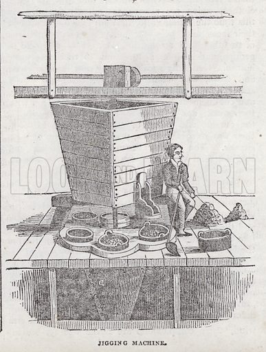 Jigging machine, Cornish copper mine.  Illustration for The Saturday Magazine, 1 February 1834.