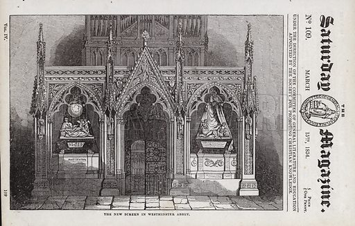 The new screen, Westminster Abbey, London.  Illustration for The Saturday Magazine, 15 March 1834.