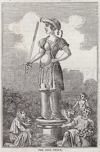 Idols of the Saxons, the idol Friga.  Illustration for The Saturday Magazine, 5 April 1834.
