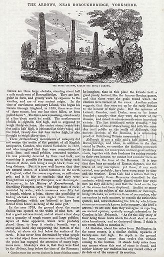 The Arrows, near Boroughbridge, Yorkshire. Illustration for The Saturday Magazine, 12 April 1834.
