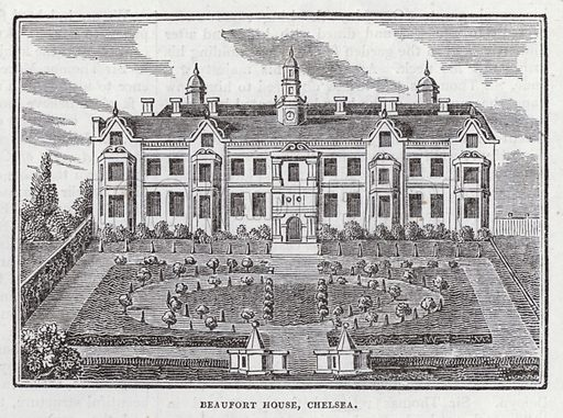 Beaufort House, Chelsea, London.  Illustration for The Saturday Magazine, 17 June 1834.
