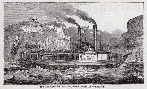 American steam-vessel, The Carroll of Carrolton. Illustration for The Saturday Magazine, 14 June 1834.