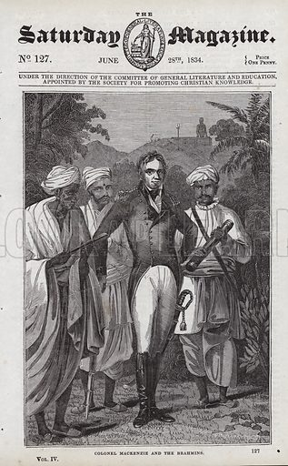 Colonel Mackenzie and the Brahmins.  Illustration for The Saturday Magazine, 28 June 1834.
