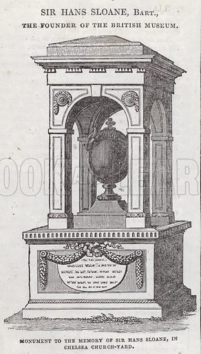 Monument to the memory of Sir Hans Sloane, Chelsea Church-yard, London.  Illustration for The Saturday Magazine, 12 July 1834.