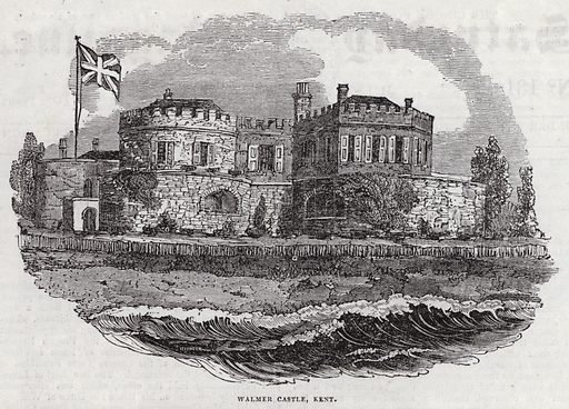 Walmer Castle, Kent.  Illustration for The Saturday Magazine, 12 July 1834.