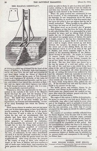 The Halifax Gibbet Law. Illustration for The Saturday Magazine, 26 July 1834.