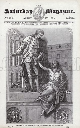The statue of Thomas Guy, in the Chapel of Guy's Hospital. Illustration for The Saturday Magazine, 2 August 1834.