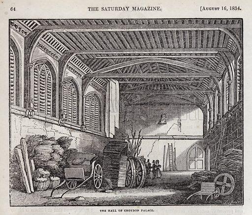The Hall, Croydon Palace, London. Illustration for The Saturday Magazine, 14 August 1834.