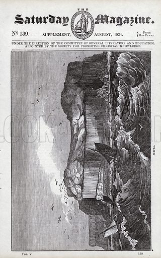 Staffa.  Illustration for The Saturday Magazine, August 1834.