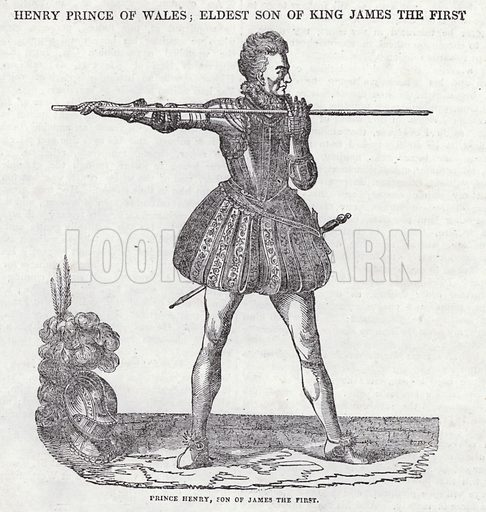 Prince Henry, son of King James I.  Illustration for The Saturday Magazine, September 1834.