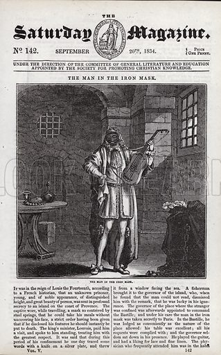 The Man In The Iron Mask. Illustration for The Saturday Magazine, 20 September 1834.