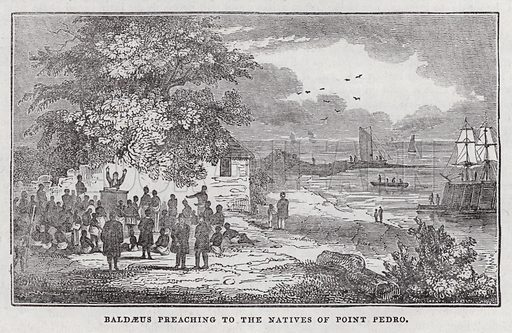 Baldaeus preaching to the natives of Point Pedro.  Illustration for The Saturday Magazine, 6 December 1834.