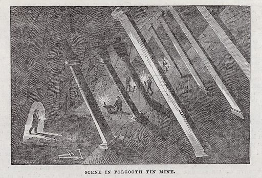 Scene in Polgooth tin mine.  Illustration for The Saturday Magazine, 6 December 1834.