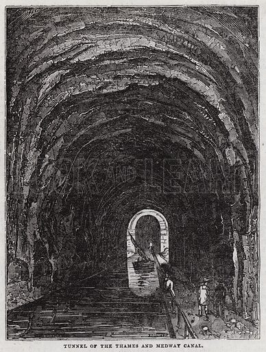 Tunnel of the river Thames and Medway Canal.  Illustration for The Saturday Magazine, 13 December 1834.