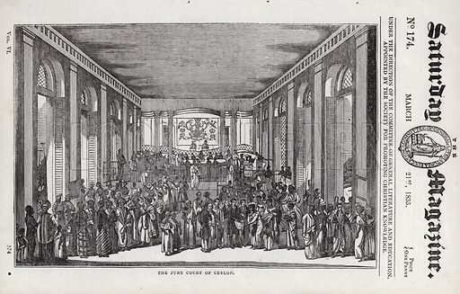 The Jury Court of Ceylon. Illustration for The Saturday Magazine, 21 March 1835.