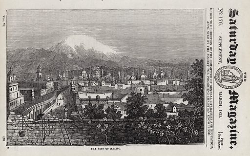The City of Mexico. Illustration for The Saturday Magazine, March 1835.