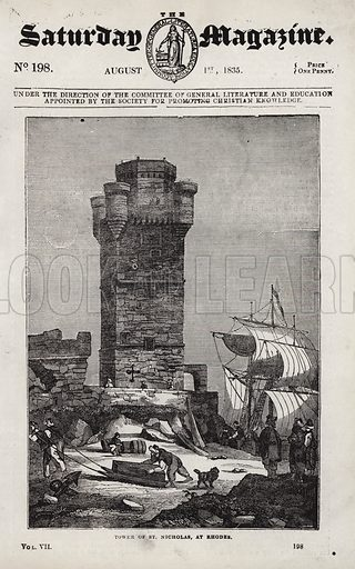 Tower of St Nicholas, Rhodes.  Illustration for The Saturday Magazine, 1 August 1835.