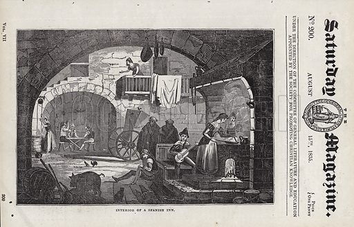 Interior of a Spanish inn.  Illustration for The Saturday Magazine, 15 August 1835.