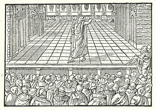 Italian stage, with standing audience. Venice, woodcut, c 1552.