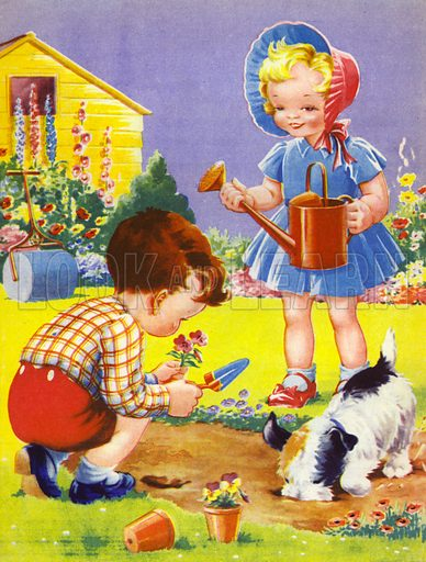 """""""Any Bones Here?"""" Illustration for Best of All, Picture Story Book (PM Productions, c 1950)."""