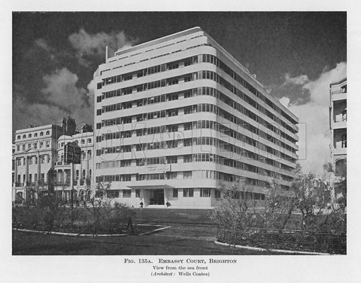 Embassy Court, Brighton.  Illustration for Flats, Design and Equipment, by H Ingham Ashworth (Pitman, 1936).