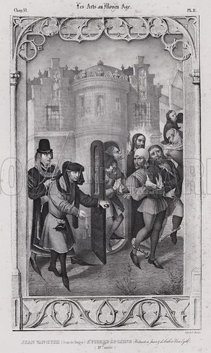 Men being released from a tower. Illustration from Les Arts au Moyen Age, by du Sommerard, (Paris, c1840).