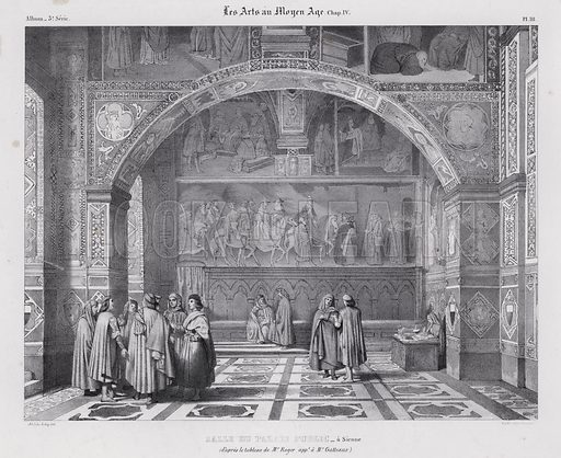 Interior of the Palazzo Pubblico, Siena, Italy, with Spinello Aretino's fresco Pope Alexander III Returns to Rome on the wall in the background. Illustration from Les Arts au Moyen Age, by du Sommerard, (Paris, c1840).