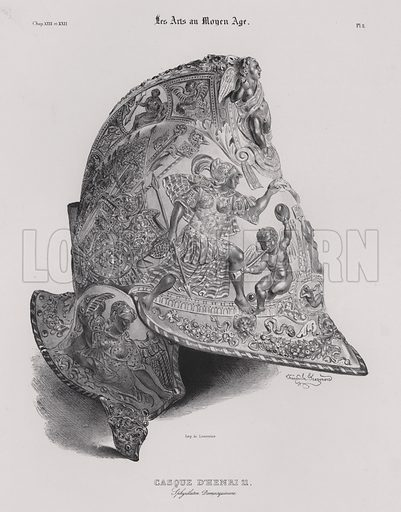 Helmet of King Henry II of France. Illustration from Les Arts au Moyen Age, by du Sommerard, (Paris, c1840).
