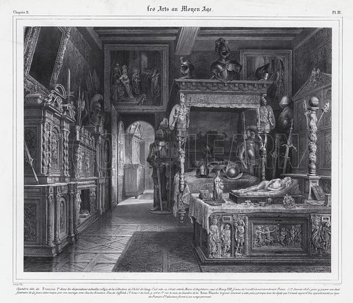 Room at the Hotel de Cluny, Paris, where Mary Tudor spent her period of mourning in 1515 after the death of her husband, King Louis XII of France. Illustration from Les Arts au Moyen Age, by du Sommerard, (Paris, c1840).