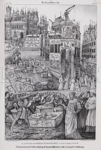 King Priam overseeing the rebuilding of Troy, from a manuscript of the time of King Louis XII of France, late 15th Century. Illustration from Les Arts au Moyen Age, by du Sommerard, (Paris, c1840).