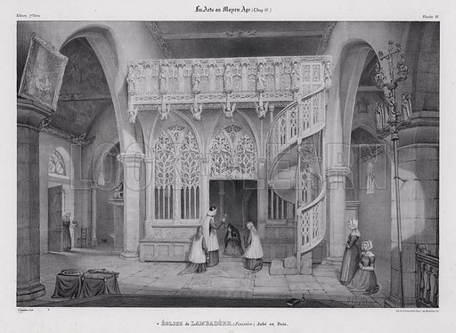 Carved wooden rood screen of the Chapel of Notre Dame de Lambader, Plouvorn, Brittany, France. Illustration from Les Arts au Moyen Age, by du Sommerard, (Paris, c1840).