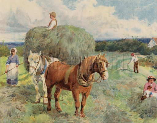 Harvest scene with horses pulling a haywain. Illustration from The Children's Farm, by LL Weedon (Nister & Co, Germany, c1900).