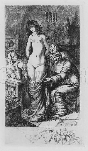 Scene from Leonore et Clementine, erotic novel by the Marquis de Sade. Illustration from Leonore et Clementine, ou les Tartuffes de l'Inquisition, by the Marquis de Sade (Au Cabinet du Livre, Paris, 1930).