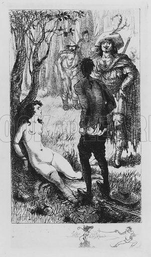 Scene from Leonore et Clementine, erotic novel by the Marquis de Sade. Illustration from Leonore et Clementine, ou les Tartuffes de l'Inquisition, by the Marquis de Sade (Au Cabinet du Livre, Paris, 1930).