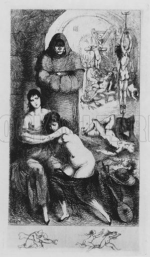 Torture of women by the Inquisition, scene from Leonore et Clementine, erotic novel by the Marquis de Sade. Illustration from Leonore et Clementine, ou les Tartuffes de l'Inquisition, by the Marquis de Sade (Au Cabinet du Livre, Paris, 1930).