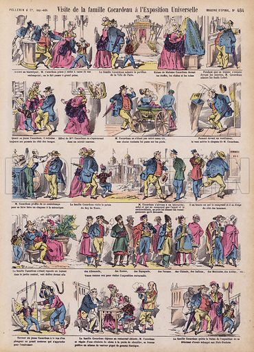 The Cocardeau family's visit to the Exposition Universelle. Illustration from 20 Images, Dispositions Diverses (Imagerie d'Epinal, Pellerin, Paris, c1890).