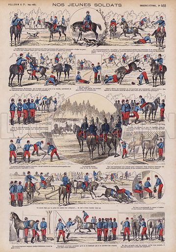 Our young soldiers: French army cavalry cadets in training. Illustration from 20 Images, Dispositions Diverses (Imagerie d'Epinal, Pellerin, Paris, c1890).