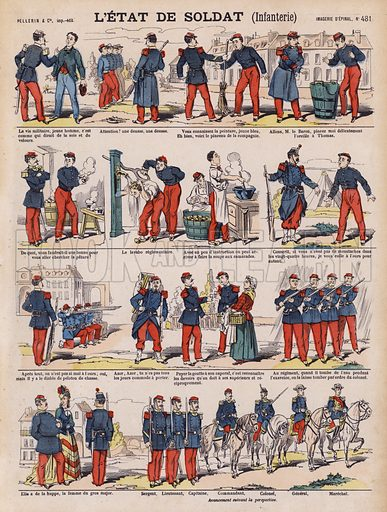 The life of a French infantry soldier. Illustration from 20 Images, Dispositions Diverses (Imagerie d'Epinal, Pellerin, Paris, c1890).