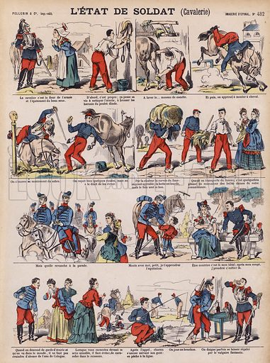 The life of a French cavalry soldier. Illustration from 20 Images, Dispositions Diverses (Imagerie d'Epinal, Pellerin, Paris, c1890).